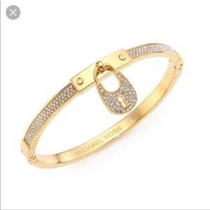 Michael Kors gold pave hinge lock bracelet